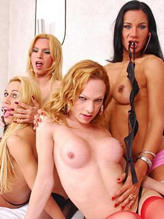 Four horny glamour girls freak off together